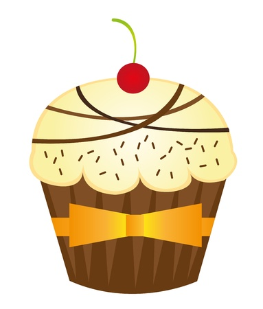vanilla cute cup cakes over white background. vector Vector