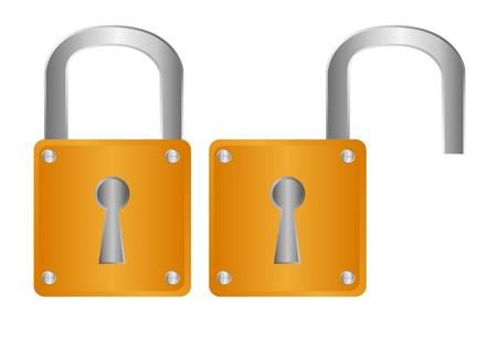 gold padlock isolated over white background. vector Stock Vector - 10790079