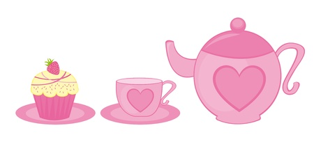 pink teapot, tea cup and cup cake isolated. vector Vector