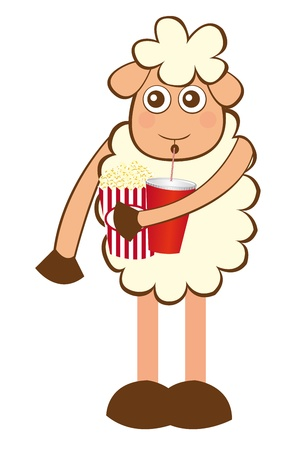 sheep cartoon with pop corn and drink isolated. vector Stock Vector - 10790391