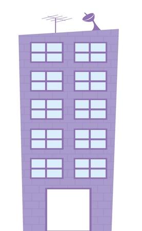 épület: lila épület rajzfilm elszigetelt fölött fehér háttér. vecor Illusztráció