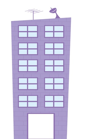 edificio: violeta edificio caricatura aislada sobre fondo blanco. vecor Vectores