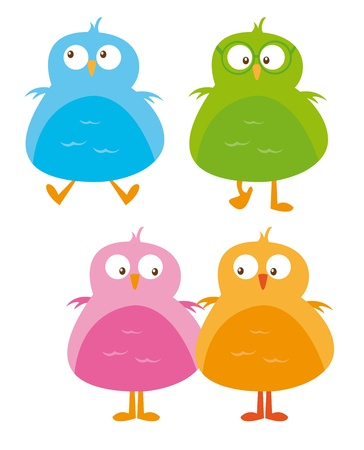 cute birds isolated over white background. vector Vector