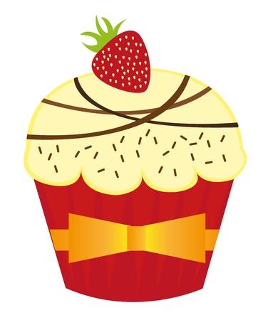 cup cakes: pasteles de Copa vainilla con fresa sobre fondo blanco. Vector Vectores
