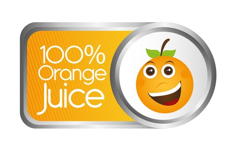 certify: orange juice tag isolated over white background. vector Illustration