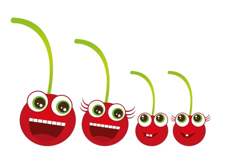 cherry family cartoon isolated over white background. vector