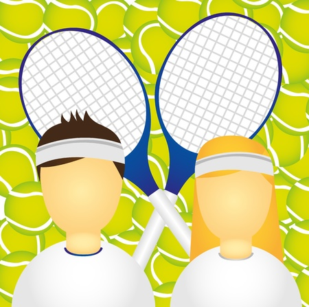 sportsman and sportswoman over tennis ball and racket. vector Stock Vector - 10790530