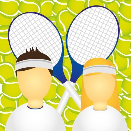 sportswoman: sportsman and sportswoman over tennis ball and racket. vector Illustration