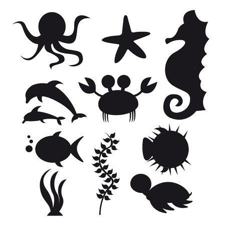 pez globo: animales de mar de silueta aislados sobre fondo blanco. Vector Vectores