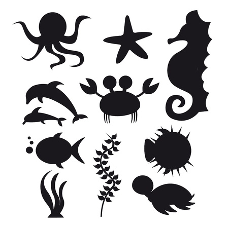 sea weeds: silhouette sea animals isolated over white background. vector Illustration