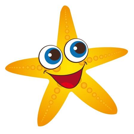 seastar: yellow starfish isolated over white background. vector