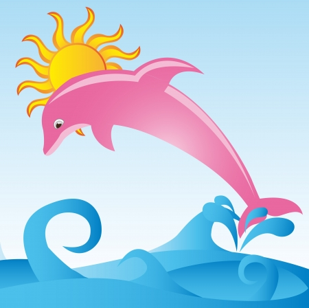 pink dolphin: pink dolphin with sea and sun over sky background. vector Illustration