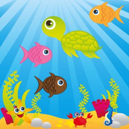 sealife: Meer mit Tieren Karikaturen �ber blauem Hintergrund. Vektor