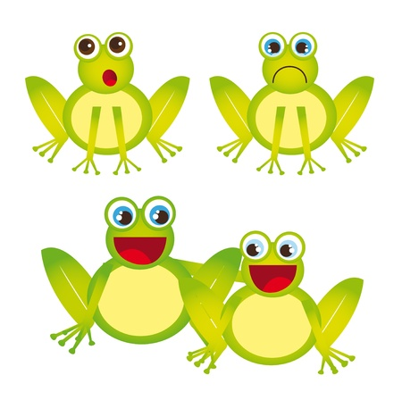 leapfrog: dibujos animados ranas verdes aisladas sobre fondo blanco. vector Vectores