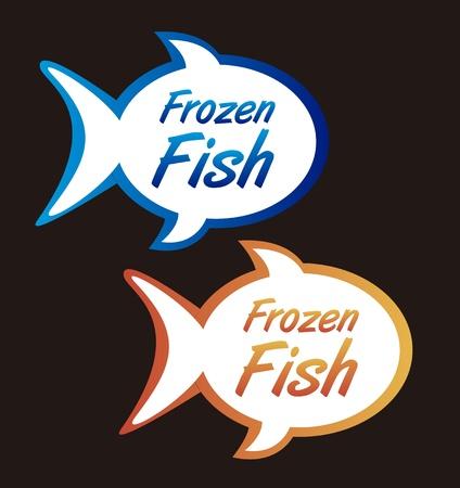 saltwater fish: tags di pesce congelato isolato su sfondo nero. vettore