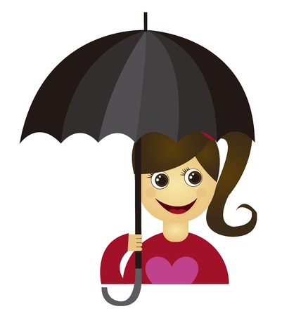 girl with black umbrella isolated over white background. vector Vector