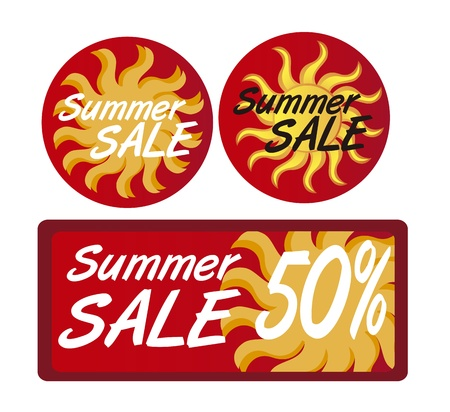 wholesale: summer sale tags with sun isolated over white background. vector