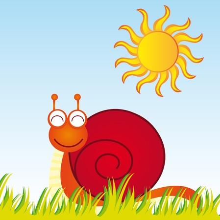 playful behaviour: snail cartoon with grass and sun over sky background. vector Illustration