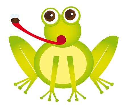 leapfrog: caricatura de rana con mosca aislada sobre fondo blanco. Vector Vectores