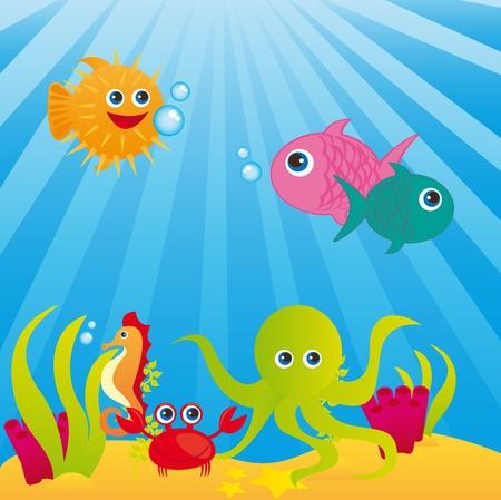 sealife: Aquarium mit Tieren des Meeres �ber Meer Hintergrund. Vektor