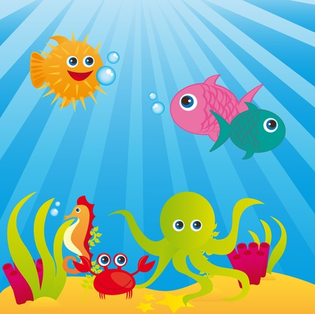 puffer: aquarium with animals of sea over sea background. vector Illustration
