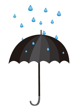 umbrella and water drops cartoon isolated. vector Vector