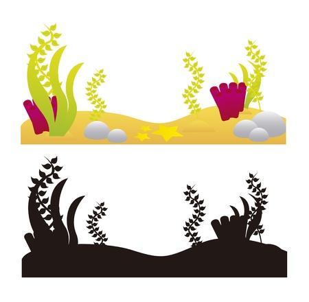 algen: aquarium elementen en silhouet geïsoleerd over een witte achtergrond. vector