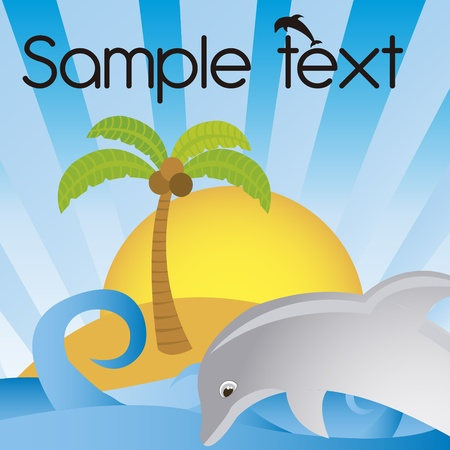 beach cartoon with dolphin and palm background. vector
