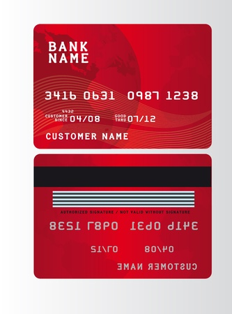 red plastic credit cards over gray background. vector Stock Vector - 10790540