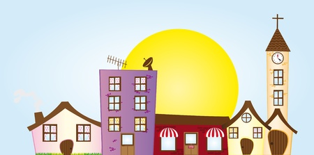 violet residential: house,building,church,coffee place cartoons over sky with sun background. vector Illustration