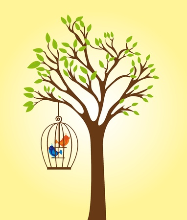 green and brown tree with cage with orange and blue birds over yellow background. vector Vector
