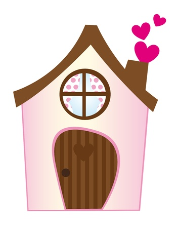 happy family house: pink sweet home with hearts isolated over white background. vector