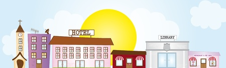 church,library,hote,veterinay,coffee place cartoon city over sky with sun and cloud Vector