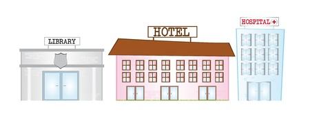 hospital dibujo animado: Biblioteca de dibujos animados, hotel y hospital aisladas sobre fondo blanco. Vector Vectores