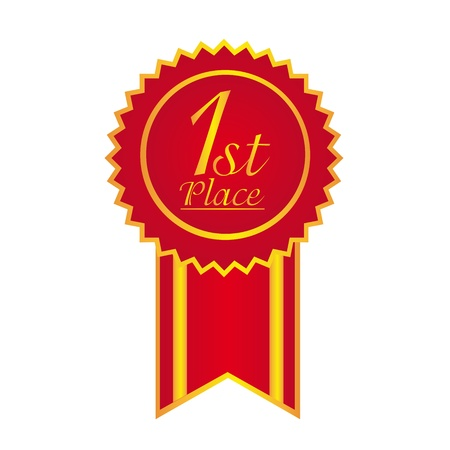 winning first: red rosette with one first place text isolated over white background. vector