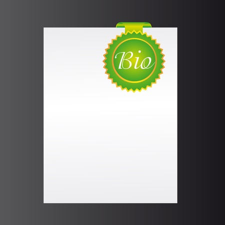 blank paper with green stamp bio over black background. vector Stock Vector - 10790335