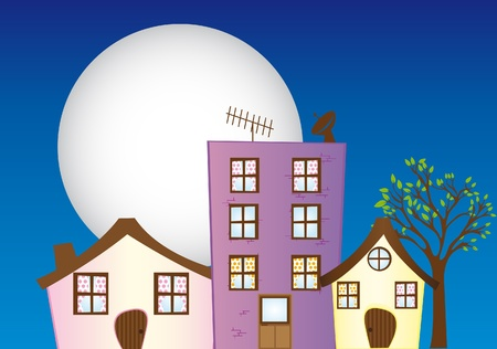 residential neighborhood: house,building,church,coffee place cartoons over sky with moon background. vector