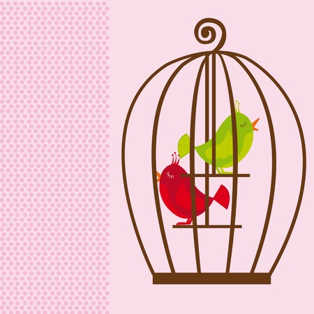 black bird: brown cute cage with green and red birds over pink background. vector