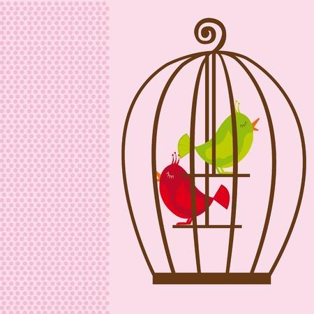 oiseau dessin: cage Mignon brune avec des oiseaux vertes et rouges sur fond rose. vecteur Illustration