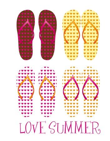 sandalias: flops flips rosado, marrón, amarillo, naranja, aislado sobre fondo blanco. Vector