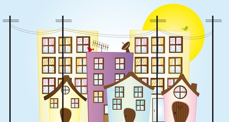 residential neighborhood: colorful cartoon city over sky with sun background. vector