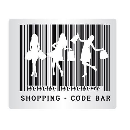 mall: black and white code bar shopping isolated over white background. vector