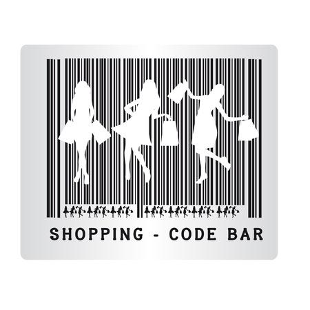 noir et blanc achats de codes à barres isolé sur fond blanc. vectoriel