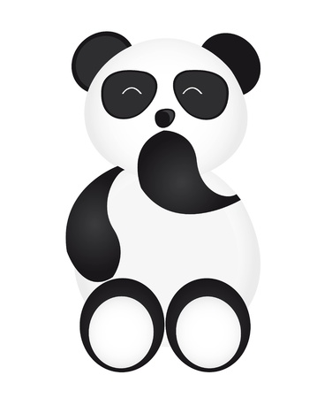 happy panda cartoon isolated over white background. vector Stock Vector - 10789966