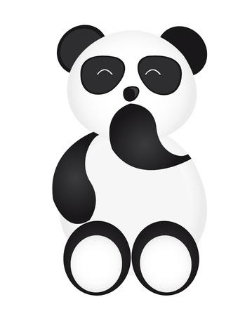 happy panda cartoon isolated over white background. vector Vector