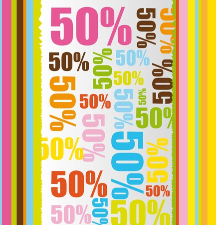 percentage: colorful with 50 percent discount text  background. vector