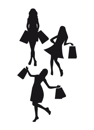 black silhouettes woman shopping isolated over white background. vector Vector