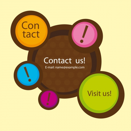 visit us: cute contact us website over beige background. vector