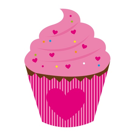 cup cakes: pink cake with hearth isolated over white background. vector