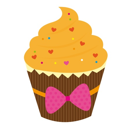 hearth: orange cake with hearth isolated over white background. vector Illustration